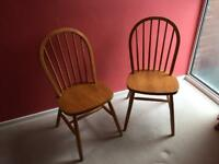 2 x Solid Pine (Shabby Chic?) Farmhouse Dining Chairs