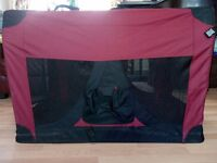 Large Dog Crate/Carrier or Travel Kennel, Maroon & Black, Good Condition