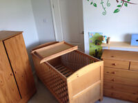 4 piece nursery furniture set: Cotbed with changing table, wardrobe & set of drawers