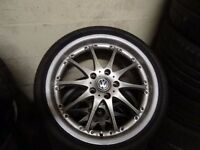 "set of 19"" VW T5 CAMPER ALLOYS ALSO FIT VIVARO RENAULT TRAFFIC PRIMESTAR NEW TYRES ALL ROUND £375"