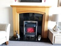 Oak effect and black marble fire surround