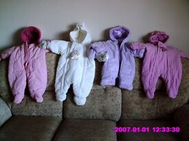 Baby girls snow suits.