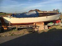 Classic clinker gaff 23ft sail boat