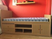 Single bed frame with under the bed storage.