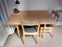Extendable dining table and 2 chairs (all IKEA, reasonable condition) - £30 ono