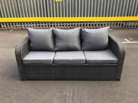 3 seater grey rattan outdoor garden patio sofa with cushions