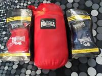 Boxing gloves, Sprung punch ball and punch bag.
