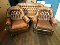 Brown Chesterfield 3 piece suite