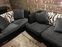 2 x 2 seater sofa grey and black cushions