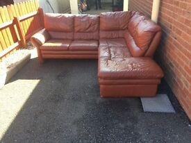Corner sofa leather (living room house rent landlord furniture )
