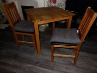 Solid wood, small Dining table with 2 Chairs