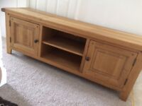Solid oak large tv stand