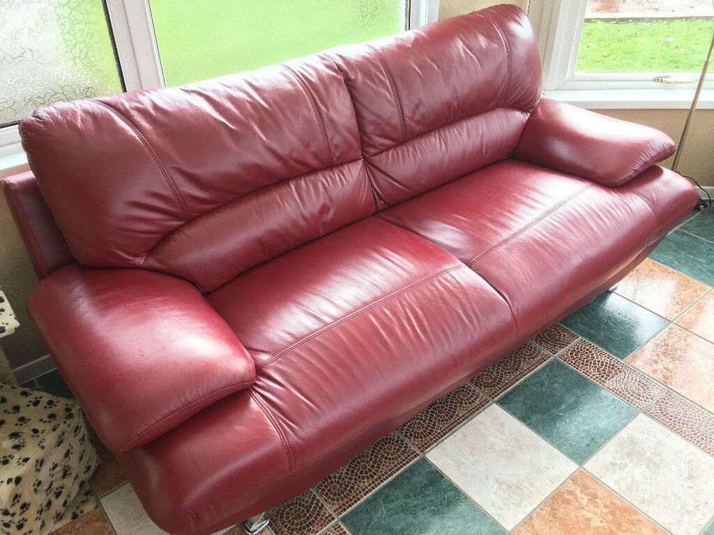Pair of Harveys Samara Red Leather 3 Seater Sofas Large Suite
