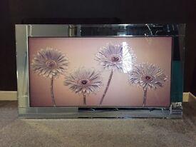 Lilac/purple flower artwork frame/mirror