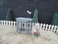 SOLID WOOD NEST OF TABLES PAINTED WITH LAURA ASHLEY PARIS GREY AND WAXED FOR PROTECTION