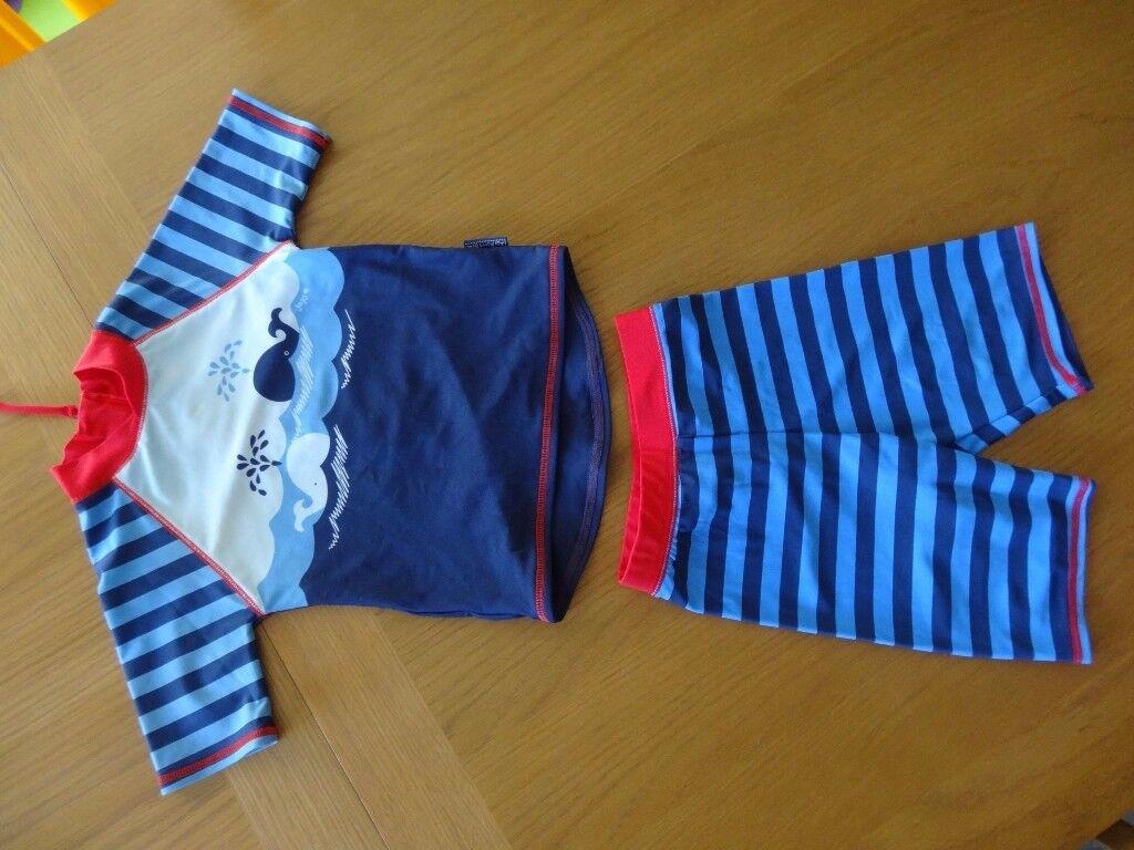 Blue Stripe 2-Piece Sun Protection Suit. Size 1-2 years