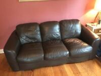 Free Dark brown leather sofa, come and collect today