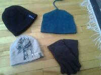 NEW 3 WINTER HATS AND GLOVES ALL FOR 6$