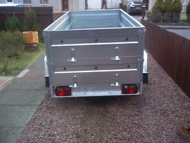 NEW Car trailers 8,7'' x 4,1'x 2,62 twin axle, double broadside spare wheel small cover free