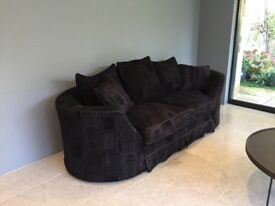 Black sofa with washable covers in very good used condition, curved Art Deco styled arms