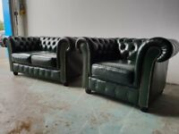GREEN LEATHER CHESTERFIELD LOUNGE SUITE / 2 SEATER SOFA & CLUB CHAIR / ARMCHAIR DELIVERY AVAILABLE