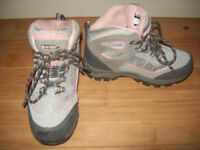 girls hi-tec grey pink suede lace up waterproof walking boots worn once size 13 junior
