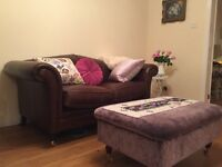 Brown leather sofa/Laura Ashley/like new