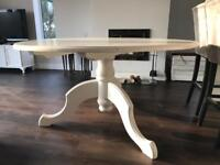 White painted solid pine pedestal table shabby chic