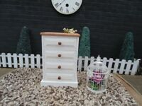 SOLID PINE FARMHOUSE BEDSIDE CABINET PAINTED WITH LAURA ASHLEY CREAM COLOUR AND WAXED FOR PROTECTION