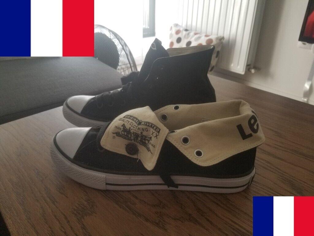 New levi's canvas horse black canvas hi-top sneakers levis eu 43 / uk 9 / us 10