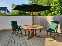 Garden furniture set, Solid dark wood
