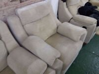Lovely Beige Upholstered Four piece suite, electric recliner chair and two seater sofa plus more