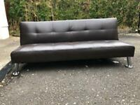 Sofa Bed Brown leather . Immaculate just surplus