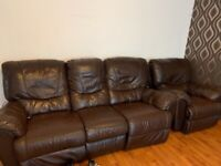 Brown leather sofa needs tlc or recover it