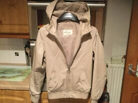RIVER ISLAND men's beige coat with hood size XS, 18.5 inches pit- pit. IMMACULATE CONDITION.