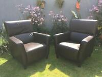 Leather sitting room chairs.