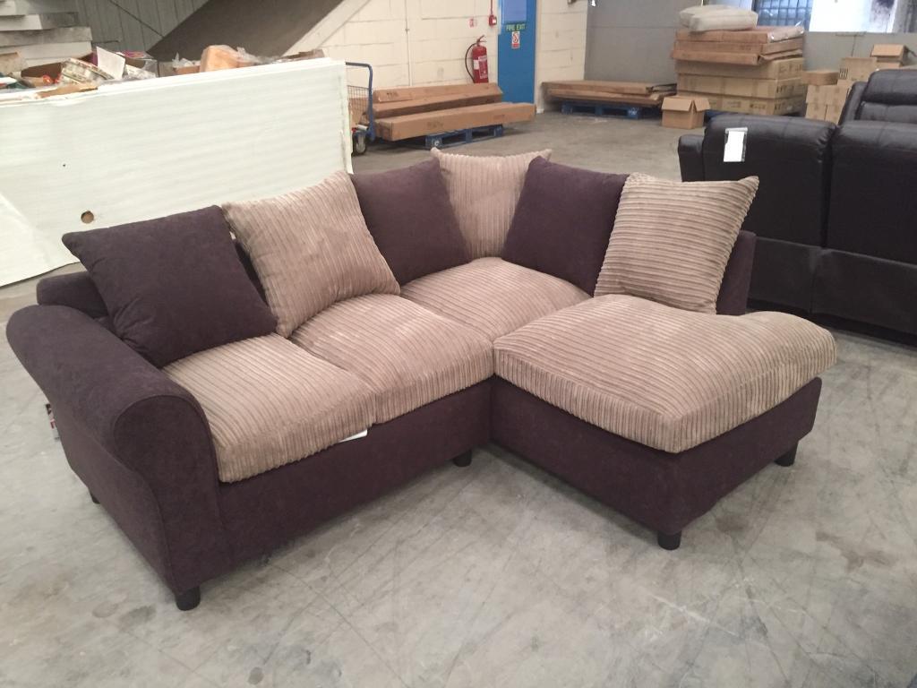 Brand new brown jumbo chord corner sofa