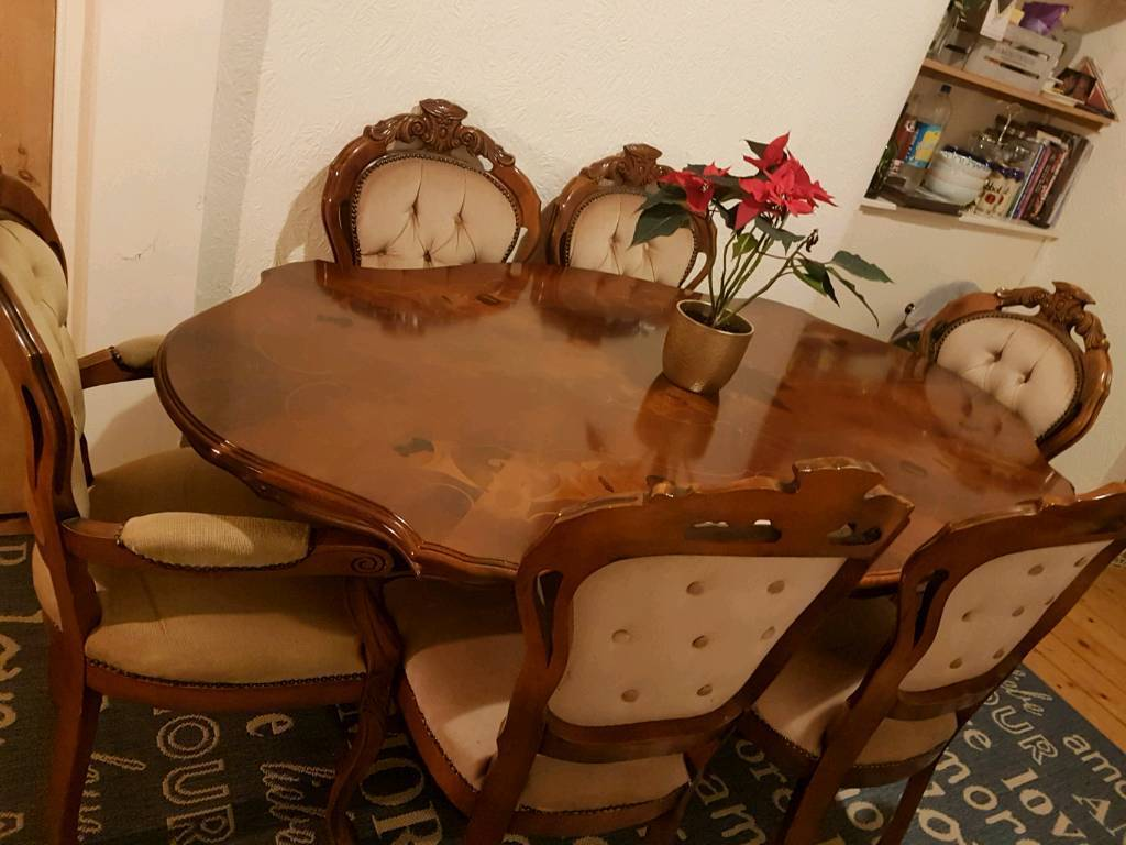 Italian Table And 6 Carved Chairs