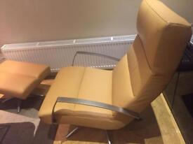 Brand New Verikon soft Leather swivel chair & footstool