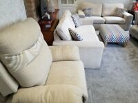 A Pair of Two seater sofas/Foot Stool/Matching Recliner in very good condition for Sale