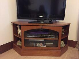 Teak corner TV unit
