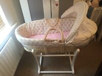 Baby Moses basket with stand - neutral colour