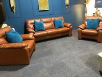 Orange tan leather suite 3 seater sofa and 2 armchairs