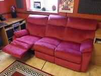 Harveys 3 seat recliner sofa crushed velvet