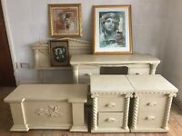 Greek Grecian / Roman style bedroom pieces, double headboard, bedside drawers, dressing table