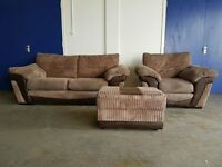 BROWN FABRIC & SUEDE SET 2 SEATER SOFA / SUITE / SETTEE & ARMCHAIR & POUFEE DELIVERY AVAILABLE