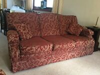 Comfortable, three piece suite - 3 seater, 2 seater and armchair