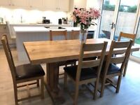 Farmhouse Solid Oak 6ft Dining Table and Chairs