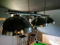 SOLD! Pool Table Lighting with Chrome Bar and 3 Chromed Metal Bowl Shades