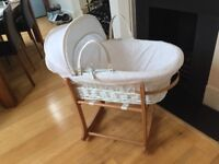 Moses basket on rocking stand, great condition, non-smoking household